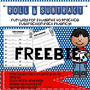 Roll And Subtract Teaching Resources | Teachers Pay Teachers