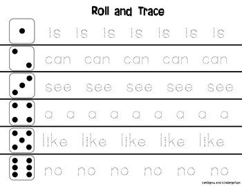 Roll and Trace (Sight Words Beg.)