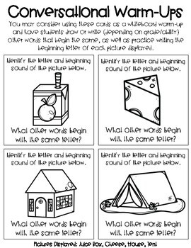Roll and Warm-Up: Pre-K to First Grade Literacy Task Cards