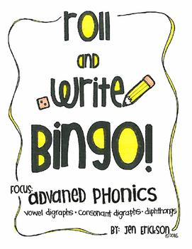 Roll and Write Bingo:  Advanced Phonics