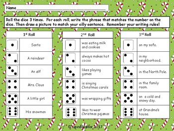 Roll and Write Christmas Silly Sentences