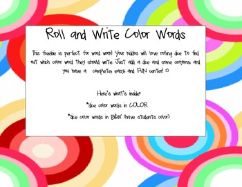 Roll and Write Color Words