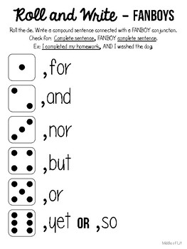 Roll and Write Conjunctions - Coordinating and Subordinating