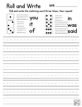 Roll and Write - Dolch Sight Words