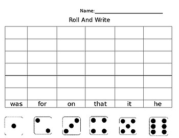 Roll and Write- Editable