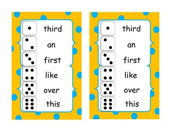 Roll and Write First Grade High Frequency Words