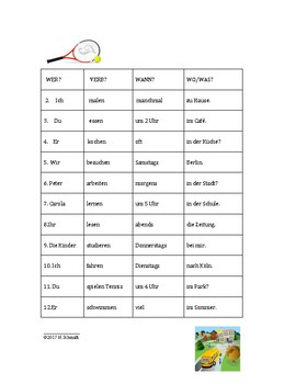 Roll and Write Game in German - Verb Conjugation Practice