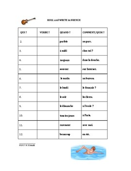 Roll and Write Game with French Verbs - Les verbes en français