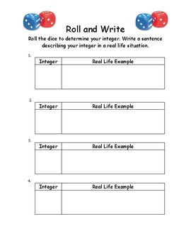 Roll and Write Integer Activity
