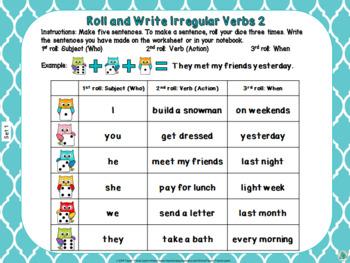 Roll and Write Irregular Verbs Activity