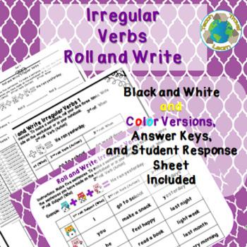 Roll and Write Irregular Verbs Activity Freebie