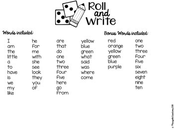 Roll and Write: Reading Street- Kindergarten/Reading Practice/Reading Center