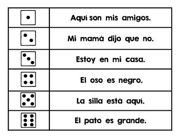 Roll and Write/Read Sentences in ENGLISH and SPANISH
