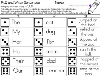 Roll and Write Sentences