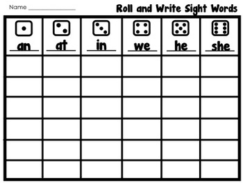 Roll and Write Sight Word Freebie