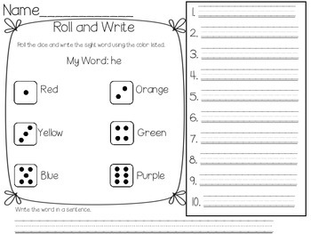 Roll and Write Sight Word Practice-EDITABLE!