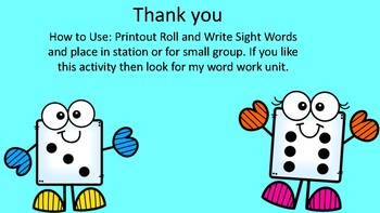 Roll and Write Sight Words.