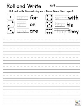 Roll and Write - Sight Words - Fry List of 100 Words