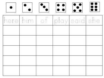 Roll and Write Sight Words Levels A-E