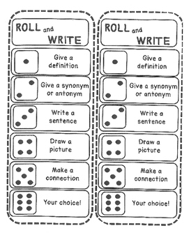 Roll and Write Vocabulary Activity