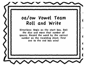 Roll and Write Vowel Teams oa and ow