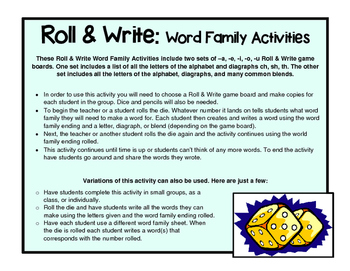 Roll and Write Word Family Activities