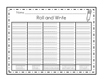 Roll and Write Word Fluency Station Game