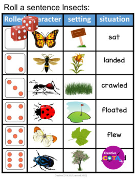 Roll and Write a Sentence Insects