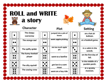 Roll and Write a Story- September/ Fall/ Autumn