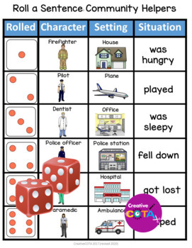Roll and Write a sentence Community Helpers Free sample