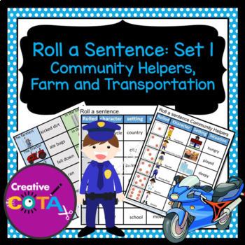 Roll and Write a sentence Set 1 Community helpers, Farm an