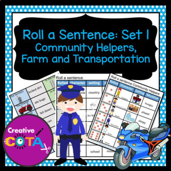 Roll and Write a sentence Set 1 Community helpers, Farm, Transportation Bundle