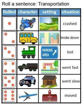 Roll and Write a sentence Set 1 Community helpers, Farm, Transportation Bundle
