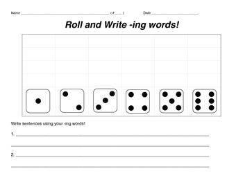 Roll and Write -ing Words