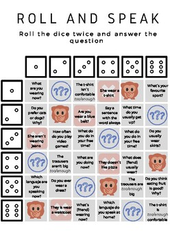 Roll and speak. Present simple and continuous game