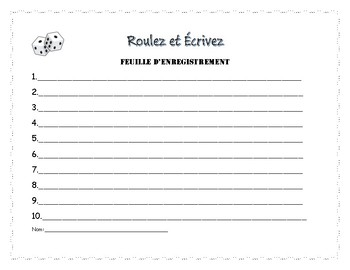 Roll and write regular -er French verbs