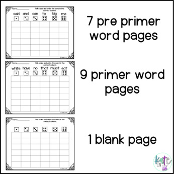 Roll and write sight words - Dolch pre primer and primer!