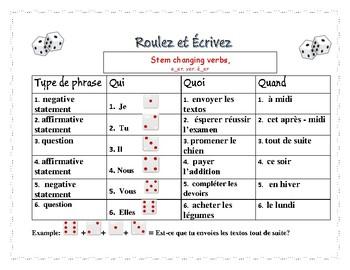 Roulez et écrivez: stem changing verbs