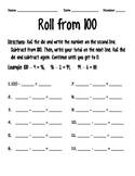 Roll from 100 Math Game