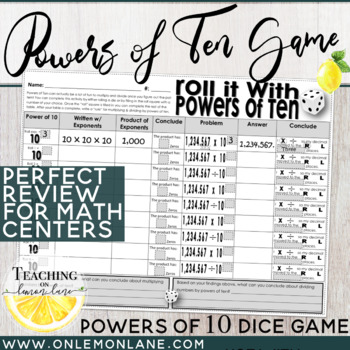 roll it powers of ten dice game multiplying dividing decimals w  powers of ten dice game multiplying dividing decimals w powers of