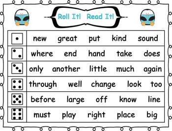 Roll it! Read It! 2nd 100 Fry Sight Words Fluency Practice