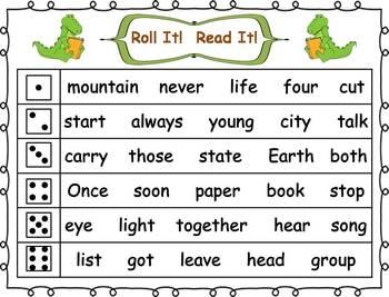 Roll it! Read It! 3rd 100 Fry Sight Words Fluency Practice
