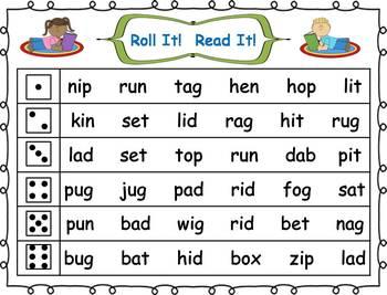 Roll it! Read It! CVC Words Fluency Practice