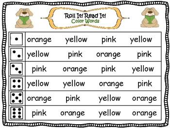 Roll it! Read It! Color Words Fluency Practice