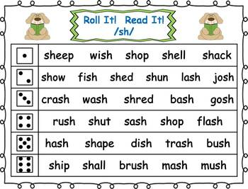Roll it! Read It! Digraphs Fluency Practice