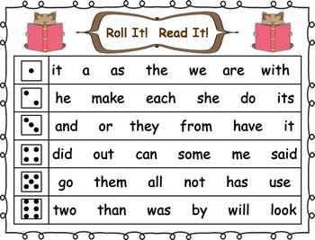 Roll it! Read It! 1st 100 Fry Sight Words Fluency Practice