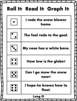 Roll it! Read It! Graph It! - Long Vowel Sentences
