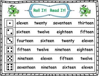 Roll it! Read It! Number Words 11-20 Fluency Practice
