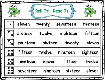 Roll it! Read It! Number Words 11-20 Fluency Practice