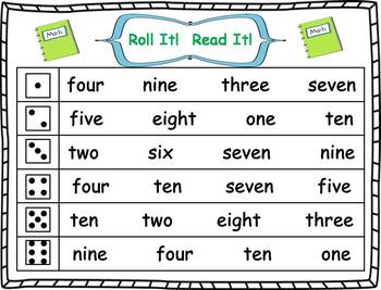 Roll it! Read It! Number Words 1-10 Fluency Practice